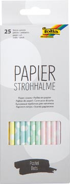 Folia papieren rietjes, ophangbaar doosje van 25 stuks, pastel bollen