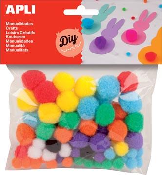 Apli pompons, zakje met 78 stuks in geassorteerde kleuren
