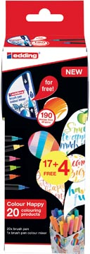 Edding Colour Happy box, assortiment met 21 stuks in geassorteerde kleuren (17 + 4 gratis)