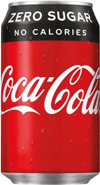 Coca Cola zero frisdrank, fat blik van 33 cl, pak van 24 stuks