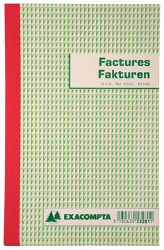 Exacompta factuurboek, ft 21x13,5 cm, tweetalig, tripli (50 x 3 vel)