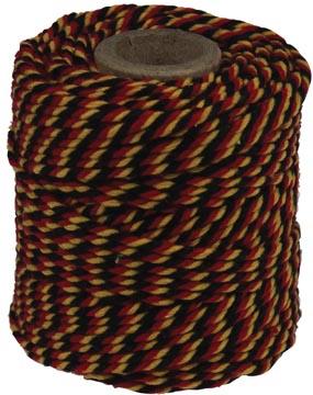 Katoentouw, zwart-rood-geel, klos van 50 g, ongeveer 35 m