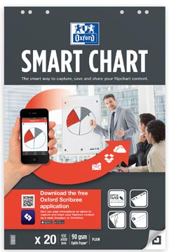 Oxford Smart Chart flipcharblok, ft 65 x 98 cm, pak met 20 vel, blanco