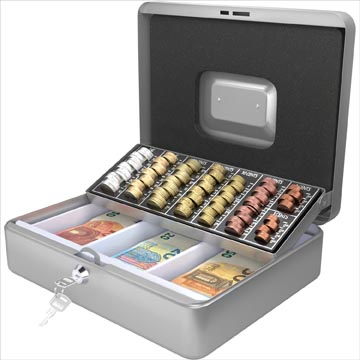 Acropaq geldkoffer met muntsorteerder, ft 30 x 24 x 9 cm, zilver
