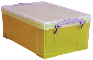 Really Useful Box opbergdoos 9 liter, transparant geel